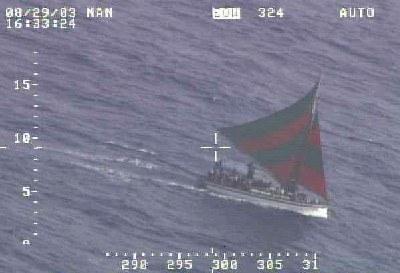 haitian boat on the ocean