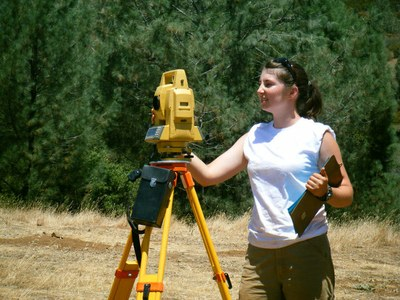Jessica Operates the Total Data Station