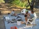 Flintknapping at Camp