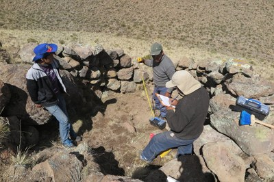 Juan Jose, Javier, and Mateo recording the excavations at Chaccu Ccoypani.