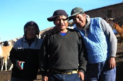 Juan Jose, Javier, and Mateo with the alpacas of Ccoypani
