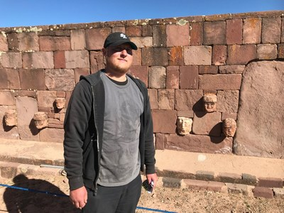 Another crew went to Bolivia. Kenny is at the sunken court at Tiwanaku.