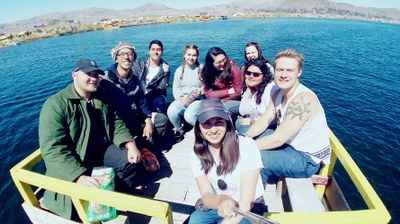 Some of the students on a boat at the Uros.